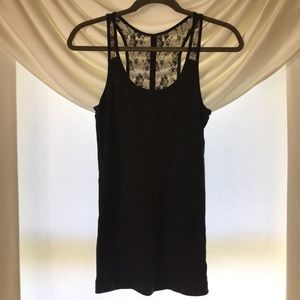 American Eagle Charcoal Gray Lace Detail Tank Top